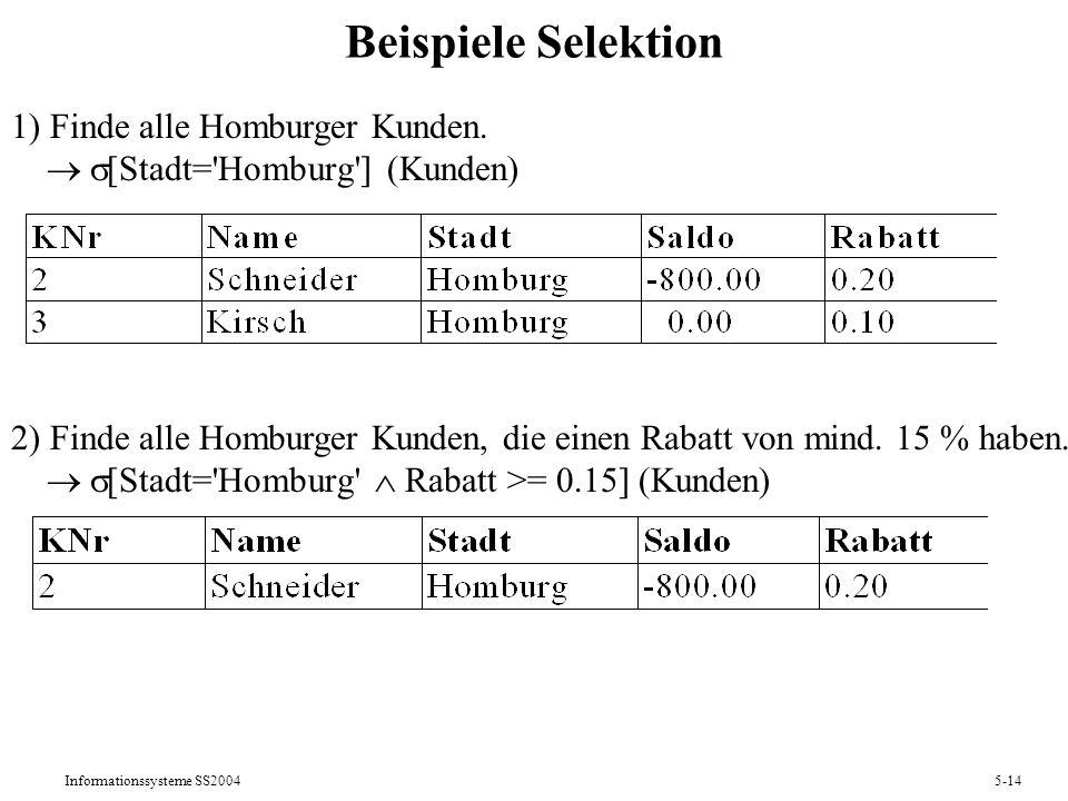 Beispiele Selektion 1) Finde alle Homburger Kunden.  [Stadt= Homburg ] (Kunden)
